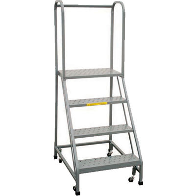 """P.W. Platforms 4-Step Rolling Ladder With Easy Angle, Serrated, 18"""" Step Width - PW50-4SH18G"""