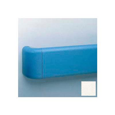 "Heavy-Duty 5.5"" Face Handrail/Wall Guard W/Aluminum-Reinforced Return & Retainer, 12' Long, White"