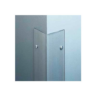 """Polycarbonate Surface Mounted 135° Corner Guard, 2-1/2"""" Wing, 4'H, Clear, Taped"""