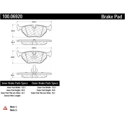 Centric Original Equipment Formula Brake Pads with Hardware, Centric Parts 100.06920