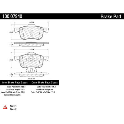 Centric Original Equipment Formula Brake Pads with Hardware, Centric Parts 100.07940