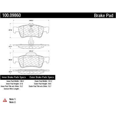Centric Original Equipment Formula Brake Pads with Hardware, Centric Parts 100.09860