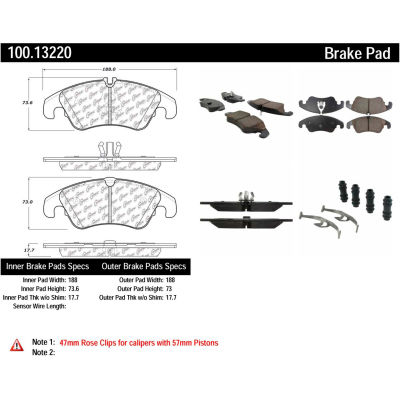 Centric Original Equipment Formula Brake Pads with Hardware, Centric Parts 100.13220