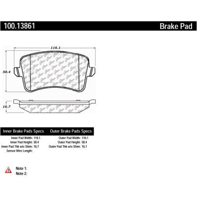 Centric Original Equipment Formula Brake Pads with Hardware, Centric Parts 100.13861