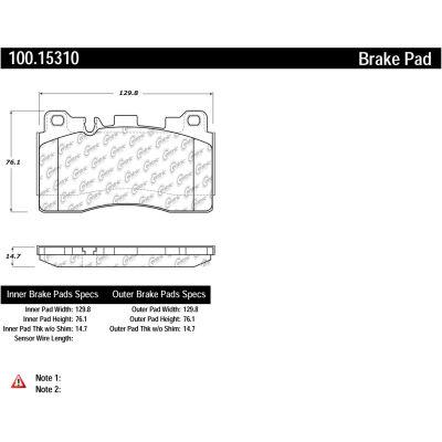 Centric Original Equipment Formula Brake Pads with Hardware, Centric Parts 100.15310