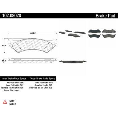 C-Tek Semi-Metallic Brake Pads with Shims, C-Tek 102.08020