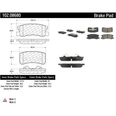 C-Tek Semi-Metallic Brake Pads with Shims, C-Tek 102.08680