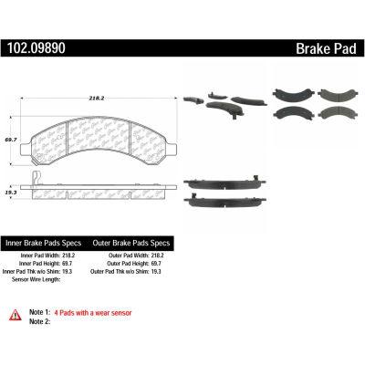 C-Tek Semi-Metallic Brake Pads with Shims, C-Tek 102.09890