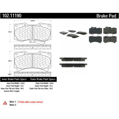 C-Tek Semi-Metallic Brake Pads with Shims, C-Tek 102.11190