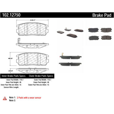 C-Tek Semi-Metallic Brake Pads with Shims, C-Tek 102.12750
