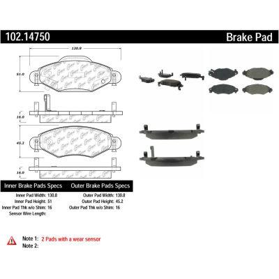 C-Tek Semi-Metallic Brake Pads with Shims, C-Tek 102.14750