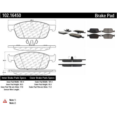 C-Tek Semi-Metallic Brake Pads with Shims, C-Tek 102.16450