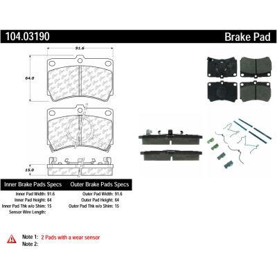 Posi Quiet Semi-Metallic Brake Pads with Hardware , Posi Quiet 104.03190