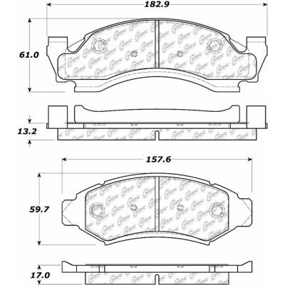 Posi Quiet Semi-Metallic Brake Pads with Hardware , Posi Quiet 104.03750