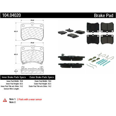 Posi Quiet Semi-Metallic Brake Pads with Hardware , Posi Quiet 104.04020