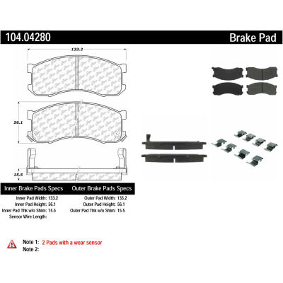 Posi Quiet Semi-Metallic Brake Pads with Hardware , Posi Quiet 104.04280