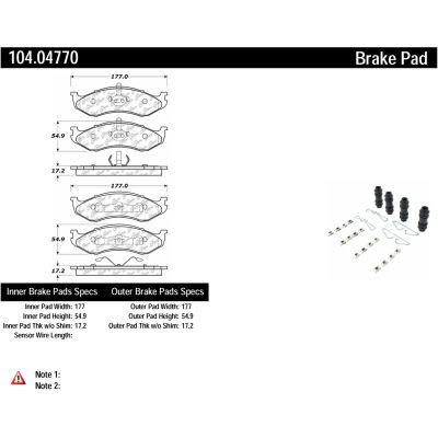 Posi Quiet Semi-Metallic Brake Pads with Hardware , Posi Quiet 104.04770