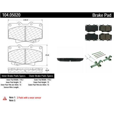 Posi Quiet Semi-Metallic Brake Pads with Hardware , Posi Quiet 104.05020
