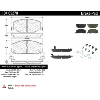 Posi Quiet Semi-Metallic Brake Pads with Hardware , Posi Quiet 104.05270