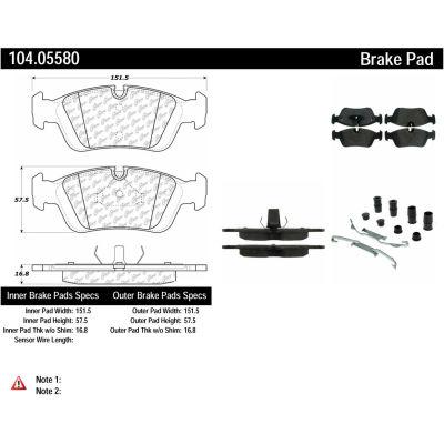 Posi Quiet Semi-Metallic Brake Pads with Hardware , Posi Quiet 104.05580