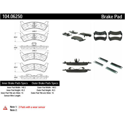 Posi Quiet Semi-Metallic Brake Pads with Hardware , Posi Quiet 104.06250