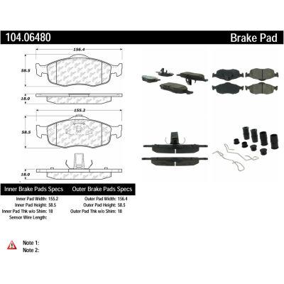 Posi Quiet Semi-Metallic Brake Pads with Hardware , Posi Quiet 104.06480