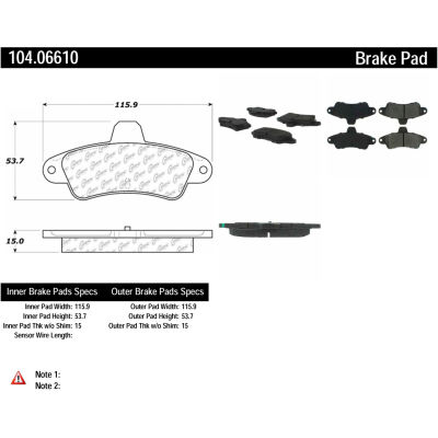 Posi Quiet Semi-Metallic Brake Pads with Hardware , Posi Quiet 104.06610