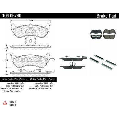 Posi Quiet Semi-Metallic Brake Pads with Hardware , Posi Quiet 104.06740