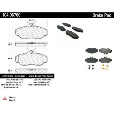 Posi Quiet Semi-Metallic Brake Pads with Hardware , Posi Quiet 104.06760