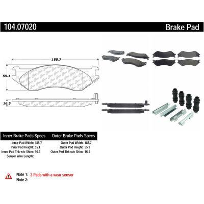 Posi Quiet Semi-Metallic Brake Pads with Hardware , Posi Quiet 104.07020