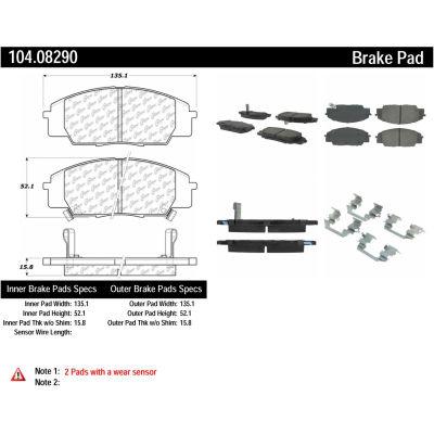 Posi Quiet Semi-Metallic Brake Pads with Hardware , Posi Quiet 104.08290