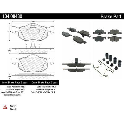 Posi Quiet Semi-Metallic Brake Pads with Hardware , Posi Quiet 104.08430