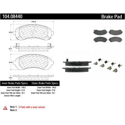 Posi Quiet Semi-Metallic Brake Pads with Hardware , Posi Quiet 104.08440