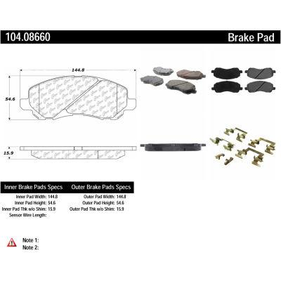 Posi Quiet Semi-Metallic Brake Pads with Hardware , Posi Quiet 104.08660
