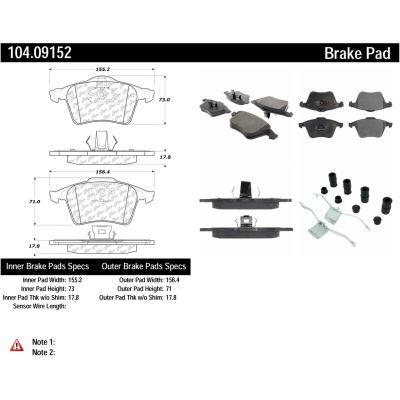 Posi Quiet Semi-Metallic Brake Pads with Hardware , Posi Quiet 104.09152