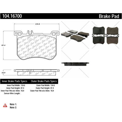 Posi Quiet Semi-Metallic Brake Pads with Hardware , Posi Quiet 104.16700