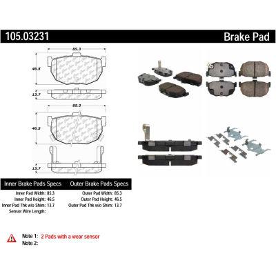 Posi Quiet Ceramic Brake Pads with Shims and Hardware , Posi Quiet 105.03231