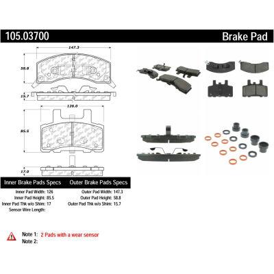 Posi Quiet Ceramic Brake Pads with Shims and Hardware , Posi Quiet 105.03700