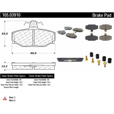 Posi Quiet Ceramic Brake Pads with Shims and Hardware , Posi Quiet 105.03910