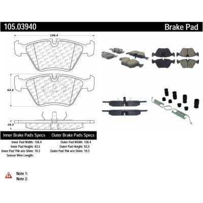 Posi Quiet Ceramic Brake Pads with Shims and Hardware , Posi Quiet 105.03940