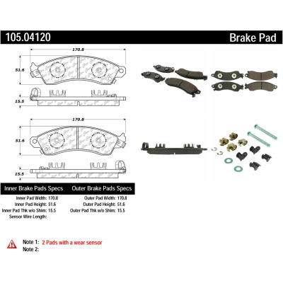 Posi Quiet Ceramic Brake Pads with Shims and Hardware , Posi Quiet 105.04120