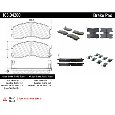 Posi Quiet Ceramic Brake Pads with Shims and Hardware , Posi Quiet 105.04280