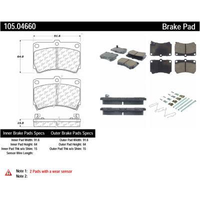 Posi Quiet Ceramic Brake Pads with Shims and Hardware , Posi Quiet 105.04660