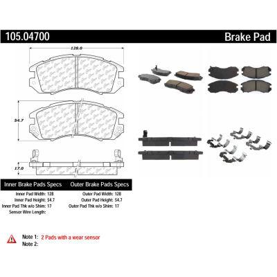 Posi Quiet Ceramic Brake Pads with Shims and Hardware , Posi Quiet 105.04700