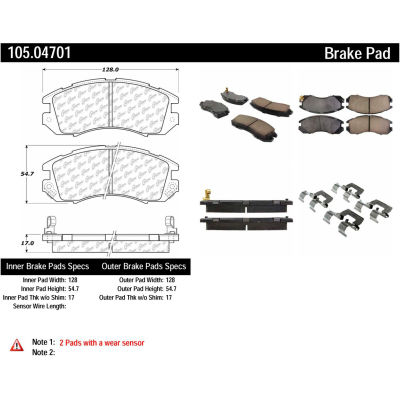 Posi Quiet Ceramic Brake Pads with Shims and Hardware , Posi Quiet 105.04701