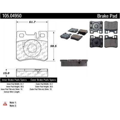 Posi Quiet Ceramic Brake Pads with Shims , Posi Quiet 105.04950