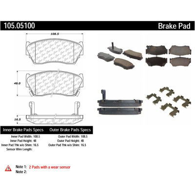 Posi Quiet Ceramic Brake Pads with Shims and Hardware , Posi Quiet 105.05100