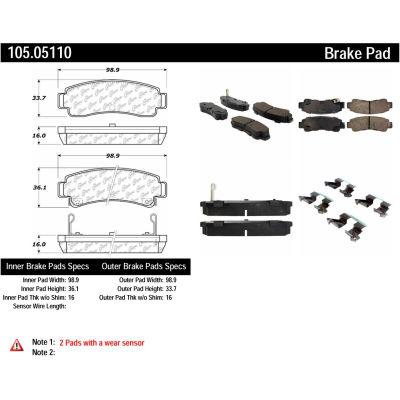 Posi Quiet Ceramic Brake Pads with Shims and Hardware , Posi Quiet 105.05110