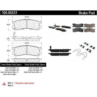 Posi Quiet Ceramic Brake Pads with Shims and Hardware , Posi Quiet 105.05531