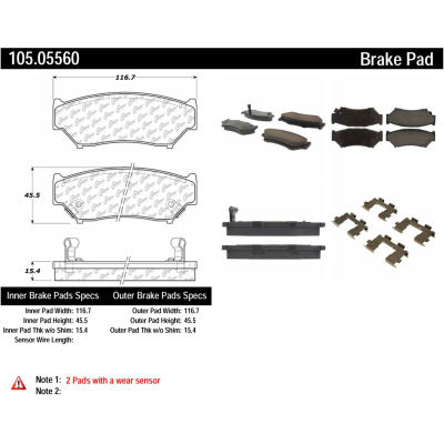 Posi Quiet Ceramic Brake Pads with Shims and Hardware , Posi Quiet 105.05560